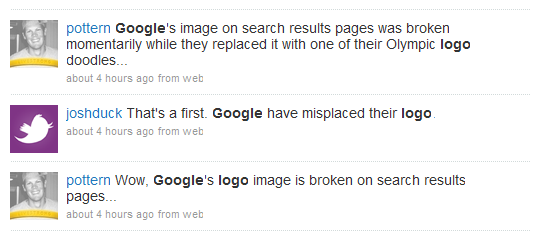 Twitter chatter about the Missing/Broken Google Logo