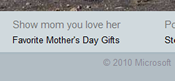 Bing.com Homepage Link to Mother's Day 2010 Favorite Gifts