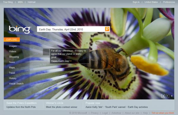 Bing.com Earth Day Interactive Box #1