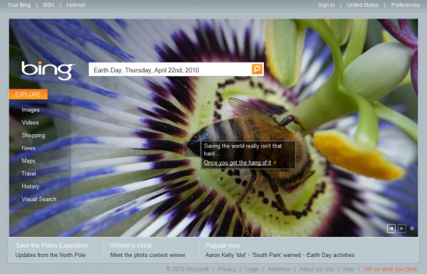 Bing.com Earth Day Interactive Box #2