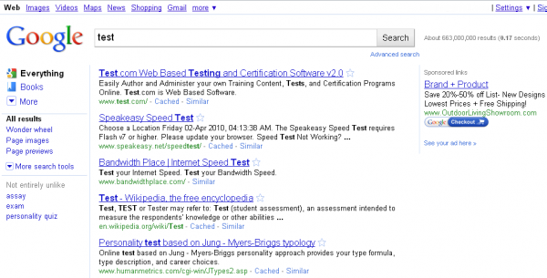 Google New SERP for Test