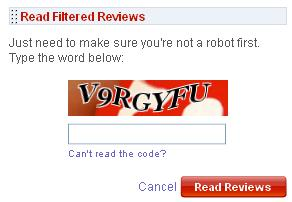 Filtered Review Captcha