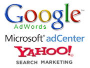 Google Adwords Yahoo Search Marketing Microsoft adCenter Logos