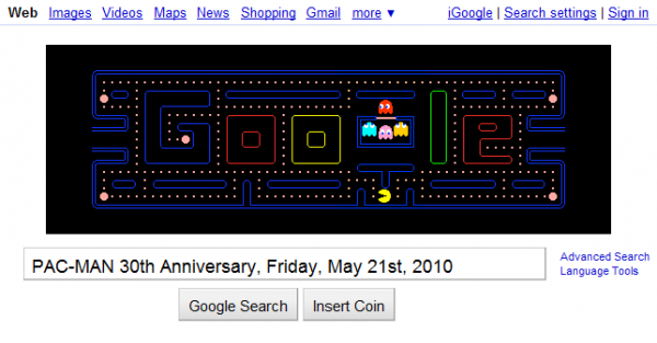 Google PAC-MAN 30th Anniversary Interactive Video Game Logo