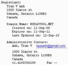 WorldTool.net Whois Record from October 19th, 2010