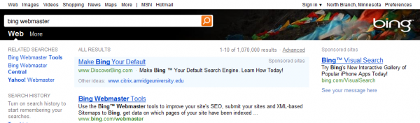 Alternate Test Top Header for Bing Search Engine Results Pages.