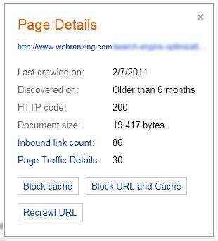 Bing Webmaster Tools Features - Index Explorer URL Popup