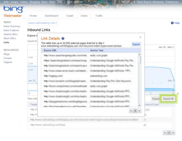 Bing Webmaster Tools Features - Index - Inbound Links with Link Details pop-up