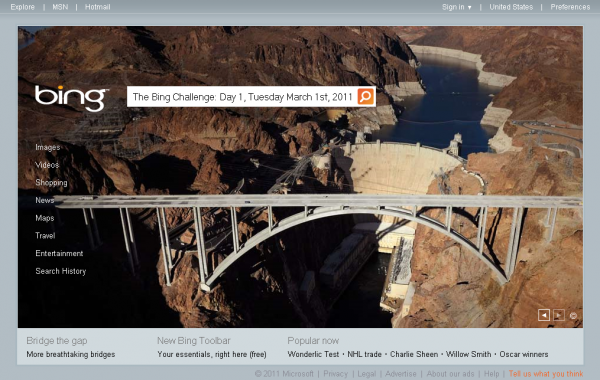 The Bing Challenge Day 1, Tuesday March 1st 2011 - Hoover Dam Bypass Project near Las Vegas, Nevada