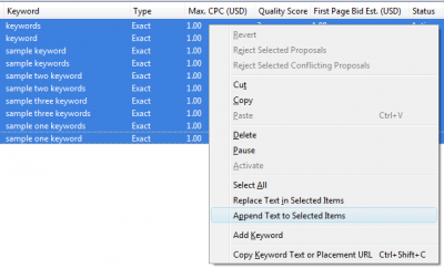 Google AdWords Editor: Append Text to Selected Items