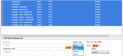 Google AdWords Editor: Change Match Type to Broad and Adjust Bid Levels