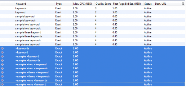 Google AdWords Editor: Completed Text Replacement
