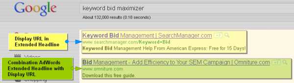 Google AdWords Extended Text Ad Headlines with Display URL Domain Names - Keyword Bid Maximizer