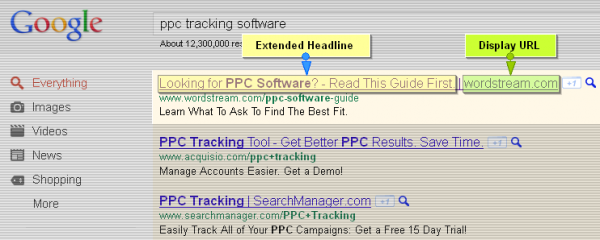Google AdWords Extended Text Ad Headlines with Display URL Domain Names - PPC Tracking Software