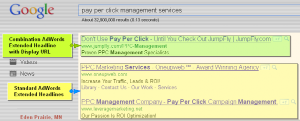 Google AdWords Extended Text Ad Headlines with Display URL Domain Names - Pay Per Click Management Services