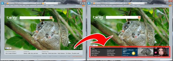 Side by Side comparison of the previous version of Bing's Homepage and the test version.