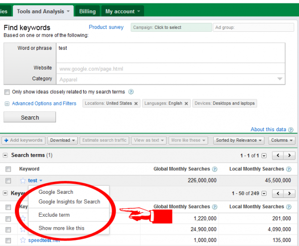 New Drop Down Menu Under Keywords in the Google AdWords Keyword Tool