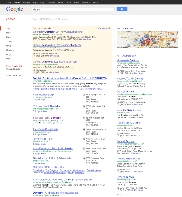 Google SERP with AdWords PPC Ads Containing Location Ad Extensions