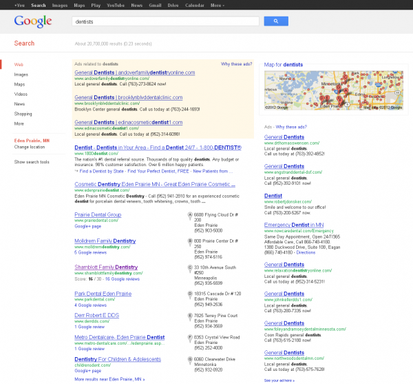 Original Google SERP without AdWords Pay Per Click Ads Containing Location Ad Extensions