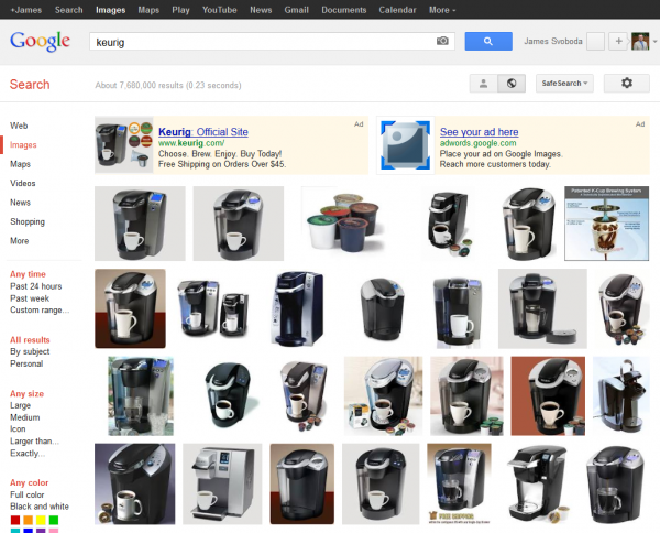 Google Image Search: Keurig SERP with AdWords Product Listing Ads Only