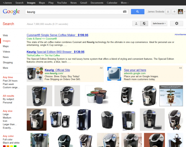 Google Image Search Keurig SERP with AdWords Product Listing and Text Ads
