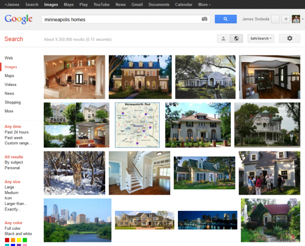 Google Image SERP: Minneapolis Homes without Ads