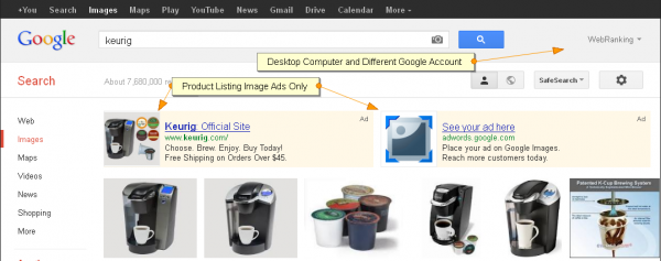 Google Testing Image Search Ads: Keurig SERP, Product Ads Only