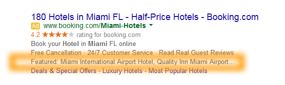 Google AdWords Ad Extension Structured Snippets Examples Featured Hotels