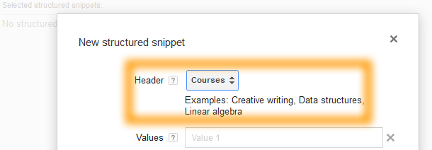 Google AdWords Ad Extension Structured Snippets - Header - Courses