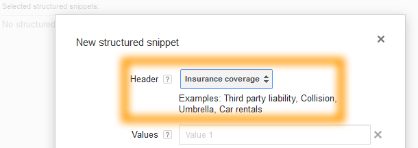 Google AdWords Ad Extension Structured Snippets Header Insurance Coverage