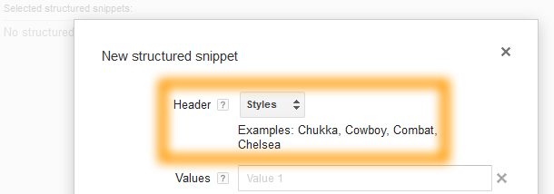 Google AdWords Ad Extension Structured Snippets Header Styles