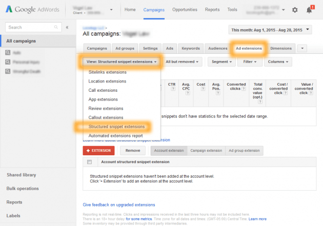 How To Find Structured Snippets Ad Extension in Google AdWords