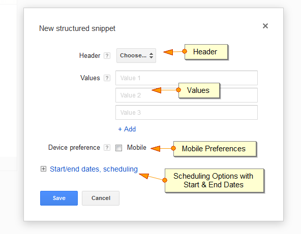 Google AdWords Ad Extension Structured Snippets Options