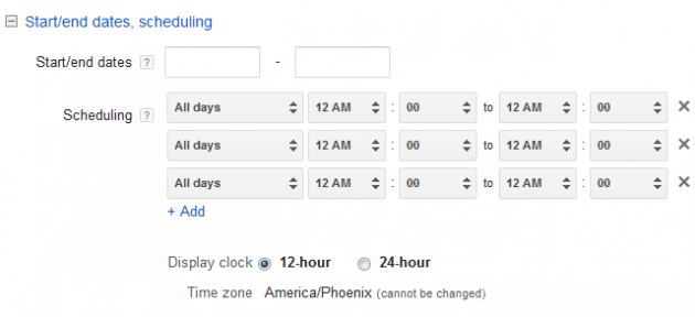 Google AdWords Ad Extension Structured Snippets Scheduling options