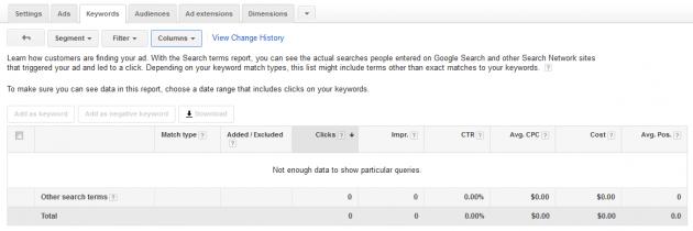 Original Google AdWords Keywords Search Terms Report