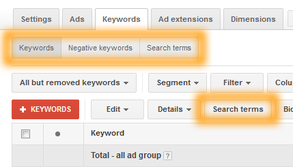 Google AdWords Keywords Tab Options