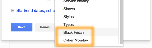 Google AdWords Ad Extension Structured Snippets Black Friday and Cyber Monday
