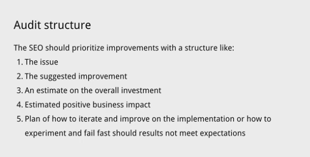 The SEO should prioritize improvements with a structure.