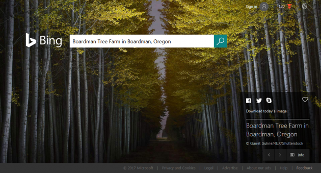 Bing.com Homepage 2017-02-10 - Boardman Tree Farm in Boardman Oregon