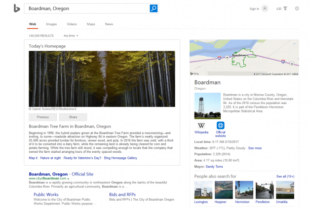 Bing.com Homepage SERP 02-10-2017 - Boardman Tree Farm in Boardman Oregon