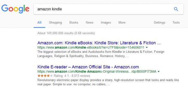Google Search Engine Results Page for Amazon Kindle
