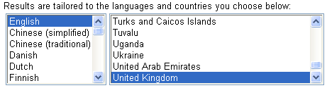 Google Keyword Tool Results Tailored for English United Kingdom