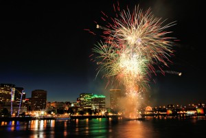 Fireworks on the waterfront in Portland Oregon
