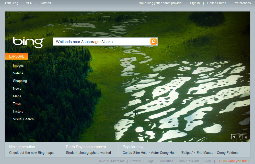 Bing's Search Share Grows Due To Wetlands Near Anchorage
