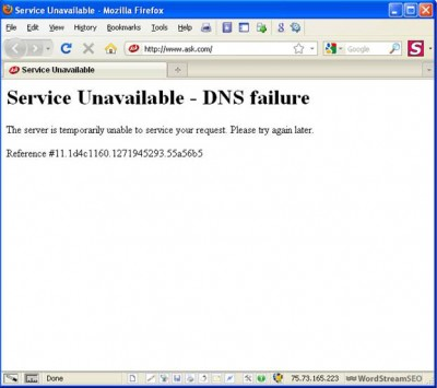 Ask.com DNS Failure