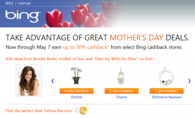 Bing.com Shopping Promo for Mother's Day 2010