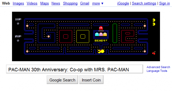 Google Logo: PAC-MAN 30th Anniversary Co-op with Mrs. PAC-MAN