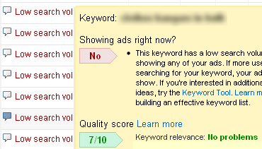 AdWords Low Search Volume