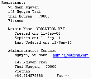 WorldTool.net Whois Record from October 13th, 2010