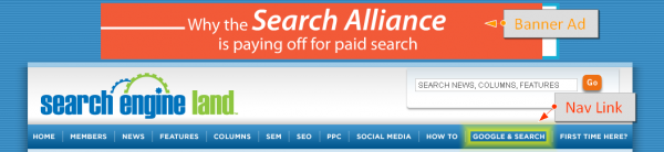 SearchEngineLand.com - Free Google and Search Nav Link, Paid Search Alliance Banner Ad